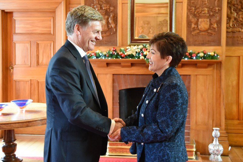 Dame Patsy Reddy greeting incoming PM Bill English at Government House