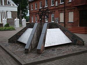 Darbėnai - Stone-made monument in Darbėnai Metrika