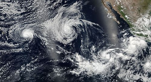 Four of the July cyclones during the 2016 season Darby, Estelle, Frank and Eight 2016-07-22 0000Z.jpg