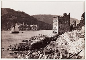 Kingswear Castle - The castle circa 1880, with Dartmouth Castle in the background