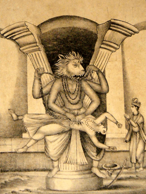 Jaya-Vijaya - Hiranyakashipu  was killed by Narasimha while Prahlada is shown praying