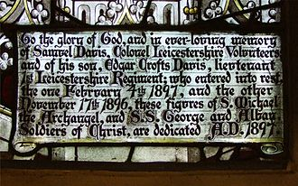Hinckley - This inscription is part of a window in St Mary's church, Hinckley