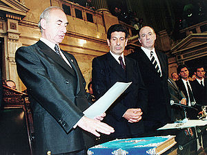 """Alliance for Work, Justice and Education - President De la Rua(UCR Leader) and Vicepresident Carlos """"Chacho"""" Alvarez (FREPASO leader) in their inauguration day on December 10, 1999"""