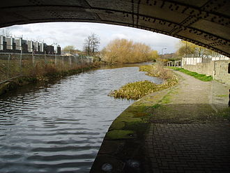 Dearne and Dove Canal - A short section above the fourth lock remains in water, although the top gate of the lock has been replaced by a concrete wall