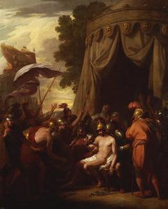Epaminondas - Death of Epaminondas, as painted by Benjamin West.