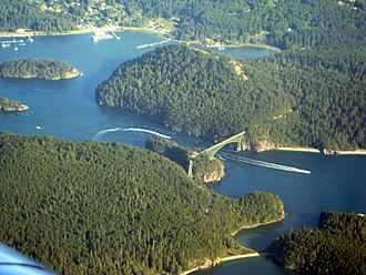 Deception Pass - Aerial view of Deception Pass looking southeast