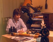 David Eicher in his home as Editor of Deep Sky Monthly magazine, Oxford, Ohio, June 1982.