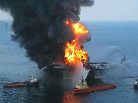 Deepwater Horizon offshore drilling unit in the Gulf of Mexico on fire in 2010 Deepwater Horizon offshore drilling unit on fire 2010.jpg