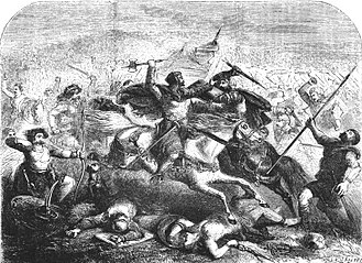 King Arthur - Arthur defeats the Saxons in a 19th-century picture by John Cassell