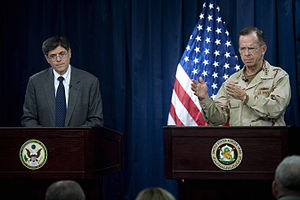Jack Lew - Lew with former Chair of the Joint Chiefs Admiral Mike Mullen at the Combined Press Information Center in Baghdad, July 27, 2010.
