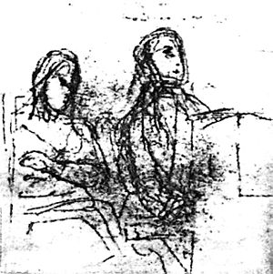 Portrait of Frédéric Chopin and George Sand - Delacroix's preliminary sketch, now at the Louvre, for the joint portrait. George Sand (left) sews while Chopin plays piano.
