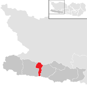 Location of the municipality of Dellach (Gailtal) in the Hermagor district (clickable map)