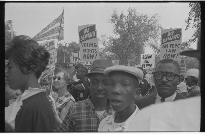 File:Demonstrators holding signs during the March on Washington 04668u.tiff