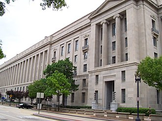 Robert F. Kennedy Department of Justice Building - 10th. St. NW facade of the Robert F. Kennedy Department of Justice Building from Constitution Avenue.