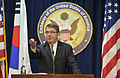 Deputy Secretary of Defense Ashton B. Carter holds a press conference with local media at the U.S. Embassy in Seoul, South Korea, on March 18, 2013 130318-D-NI589-342.jpg