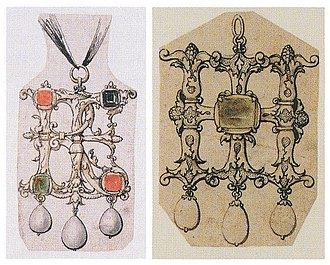 Holbeinesque jewellery - Image: Designs for Jewelled Initial Letters by Hans Holbein the Younger
