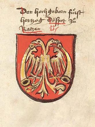 Serbian Despotate - Despot Đurađ's coat of arms, Prussian ed. Chronicle of the Council of Constance (before 1437).