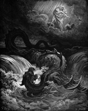 Jewish mythology - Destruction of Leviathan, 1865 by Gustave Doré. This sea monster was mentioned 6 times in the Hebrew Bible.