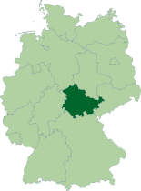 Map of Germany, location of Thuringia highlighted