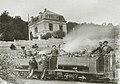 Deux locomotives à vapeur, pour voies étroites à l'usine de la Providence de Réhon (Meurthe-et-Moselle), en 1899.jpg