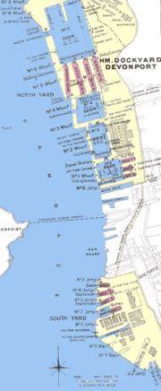 Devonport Dockyard in 1909 plan