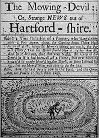 """Cette gazette anglaise du 17e siècle serait la plus ancienne représentation d'un agroglyphe. Elle contiendrait un témoignage du 22 août 1678 décrivant le travail du diable qui """"a dédaigné de faucher [l'avoine] comme on le fait d'habitude, et l'a coupée en cercles ronds, et placé chaque fétu de paille avec une telle exactitude qu'il aurait fallu plus d'un Âge à n'importe quel vitille pour exécuter qu'il a fait cette nuit-là"""". (sourcer précisément cette image)"""
