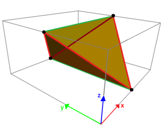 Quadrilateral - The (red) side edges of tetragonal disphenoid represent a regular zig-zag skew quadrilateral