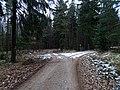 Dobřichovice, Hřebeny, hřebenovka, rozdělení pěší a cyklistické trasy (01).jpg