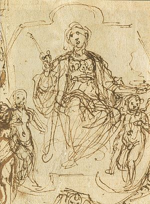 Domenico Passignano - Sketch of Charity flanked by Glory and Happiness, circa 1608.