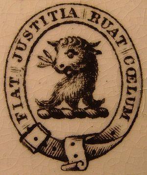 Fiat justitia ruat caelum - Crest of the family of Joseph Drew of Weymouth, Dorset, 1870. Variant spelling cœlum.