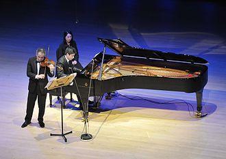 Kevin Kwan Loucks - Emerson String Quartet violinist Eugene Drucker and Loucks in recital at Soka Performing Arts Center on February 10, 2014