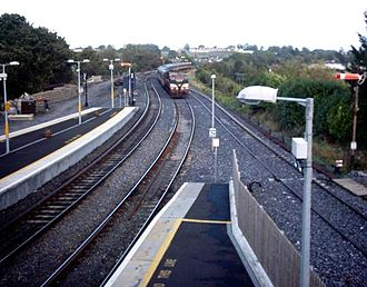 Mullingar railway station - Mullingar station looking towards Dublin with the former line to Athlone coming in from the right