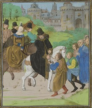Constance of Castile, Duchess of Lancaster - The surrender of Santiago de Compostela to John of Gaunt. Constance is the lady on horseback.