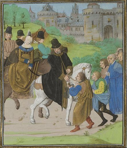 John of Gaunt entering Santiago de Compostela, from a manuscript of Jean Froissart's chronicles Dukeoflancaster.jpg