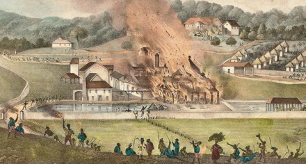 A plantation set alight during the Baptist War of 1831-32 Duperly (1833) Destruction of the Roehampton Estate January 1832.png