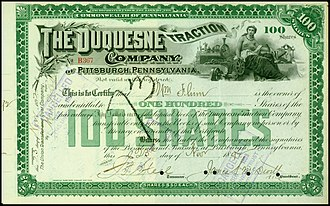 Duquesne Gardens - Share of the Duquesne Traction Company, issued 23. November 1892