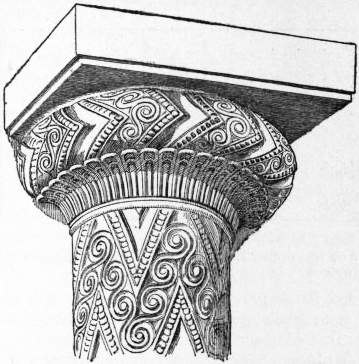 EB1911 Capital Fig. 5 Early Greek Capital from the Tomb of Agamemnon, Mycenae
