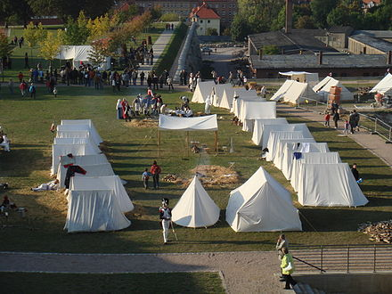 Reenactment of military camp at Petersberg Citadel, 200th anniversary of Congress of Erfurt, September 2008. EF Furstenkongress Biwaklager.jpg