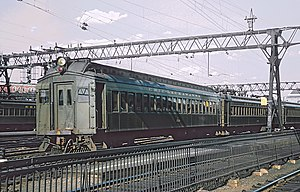 Hoboken Terminal - An Erie Lackawanna commuter train arriving at Hoboken in November 1978