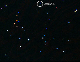 Ixion appears as a faint point because it is currently 41 AU away and has an apparent magnitude of about 19.7.[1]