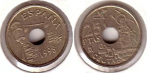 Royal Walls of Ceuta - 1998 25-peseta coin featuring the Royal Walls
