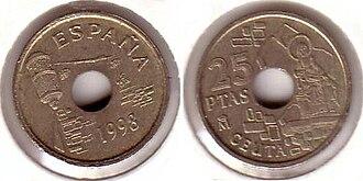 Royal Walls of Ceuta - 1998 25-peseta coin featuring the Royal Walls