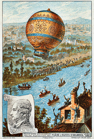 Jean-François Pilâtre de Rozier - The first untethered balloon flight, by Rozier and the Marquis d'Arlandes on 21 November 1783.
