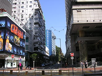 Middle Road, Hong Kong - East section of Middle Road with Nathan Road in the front. The Sheraton Hotel is visible on the right.