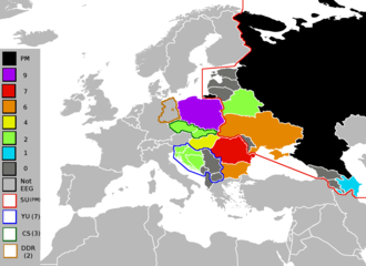 Eastern European Group - The Eastern European Group in 2012, with the years each member spent in the United Nations Security Council, including former members represented as outlines