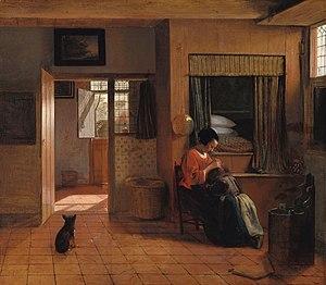 Box-bed - Image: Een moeder die het haar van haar kind reinigt, bekend als 'Moedertaak' Rijksmuseum SK C 149