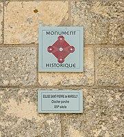 Eglise Saint-Pierre Marsilly panneau MH Charente-Maritime.jpg