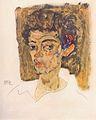 Egon Schiele - Selbstporträt vor braunem Hintergrund - 1912.jpeg