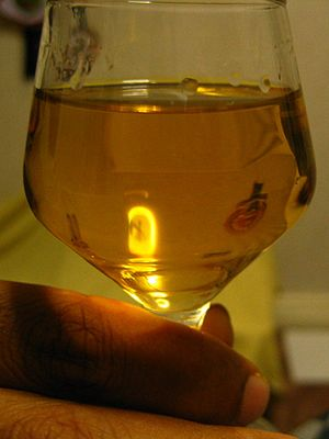 Akvavit - A glass of akvavit.