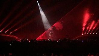 """Eleni Foureira - Foureira performing """"Fuego"""" at Eurovision 2018."""